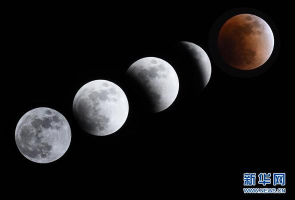 """天幕上演月全食美景 """"超级月亮""""图片集锦"""