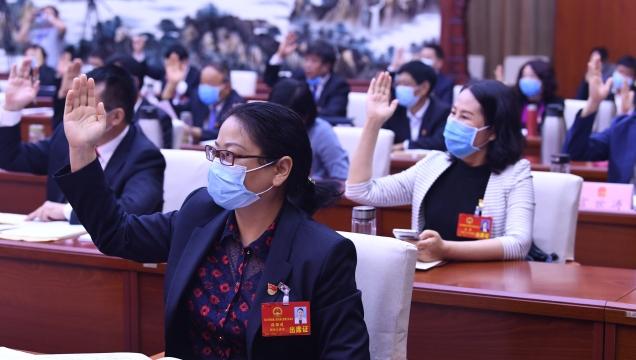 人大代表表决通过了大会各项决议草案