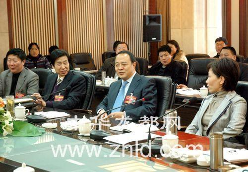 毛超峰参加人大四次会议项城代表团讨论。(记者 沈 ...