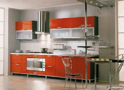 彩色整体厨房装修效果图